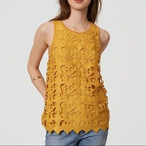 LOFT • sunny lace-front tank in marigold